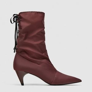 NWT Zara Fabric High Heel Ankle Boots with Laces